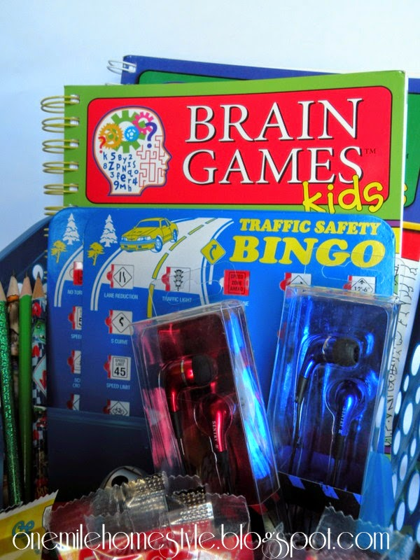 Organized kids road trip kit - books and games