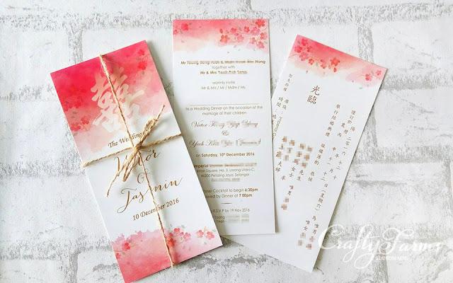 Modern Double Happiness Watercolor Wedding Cards - Kuala Lumpur, Malaysia