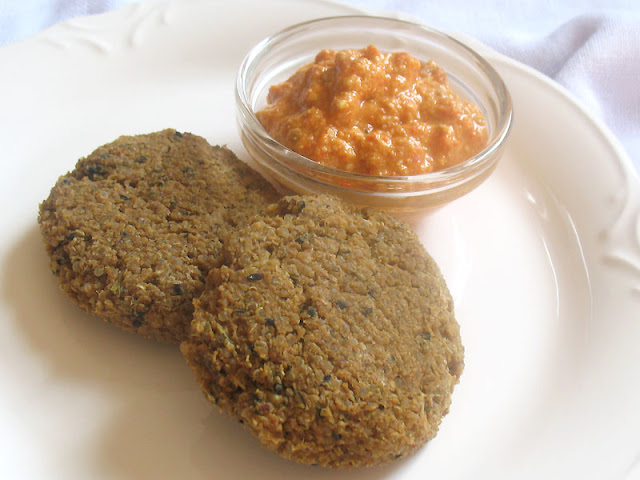 Quinoa Chickpea Flour Falafel amongst Mung Beans together with Roasted Red Pepper Sauce
