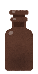 空の試薬瓶のイラスト1(茶色)