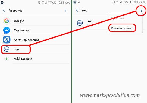Settings > Accounts > Remove Accounts