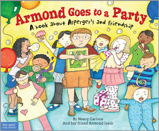 Book cover, 'Armond Goes to a Party.' Line-drawn and colored image depicts a boy clutching a dinosaur book amidst many other children who are making noise around him: talking, blowing on noisemakers, blowing bubbles, playing games, etc.