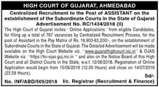 Gujarat HC Recruitment 2018 for 767 Posts of Assistant GHC Assistant Job Vacancy 2018