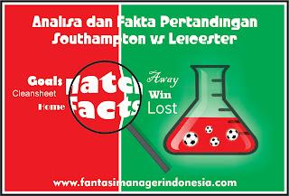 Analisa dan Fakta Menjelang Pertandingan Southampton vs Leicester Fantasi Manager Indonesia
