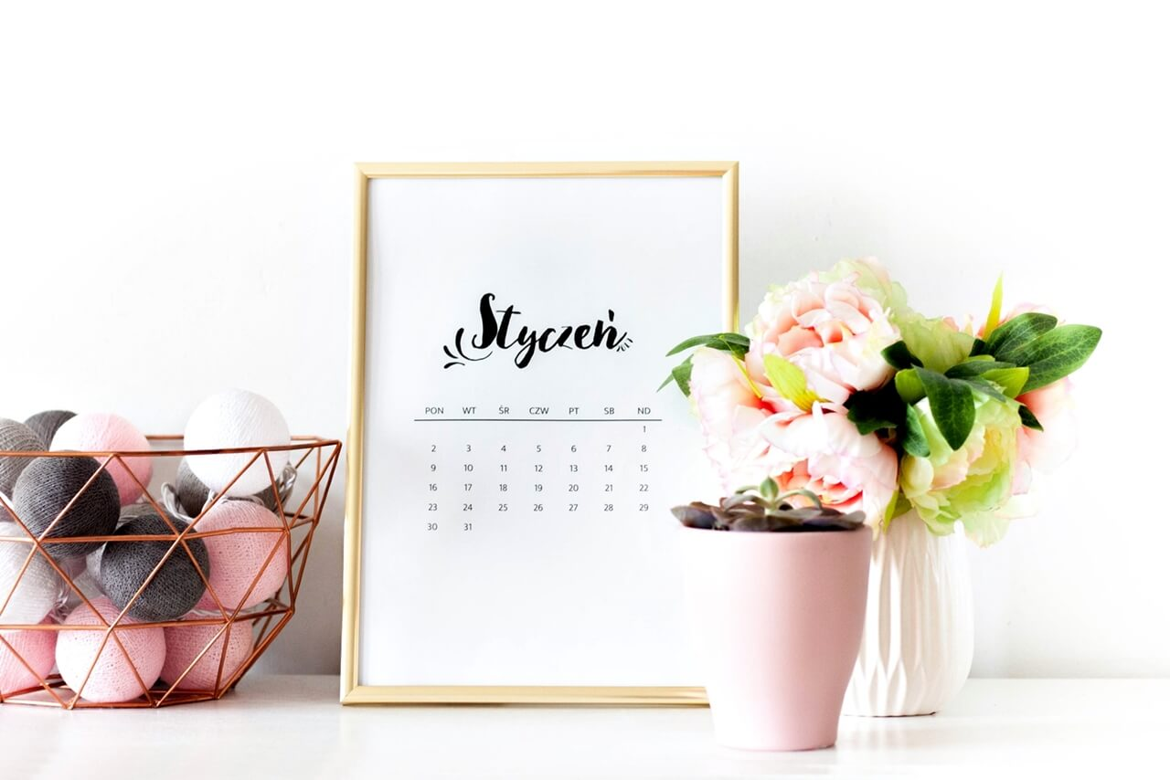 Kalendarz 2017 do druku do pobrania za darmo - black&white