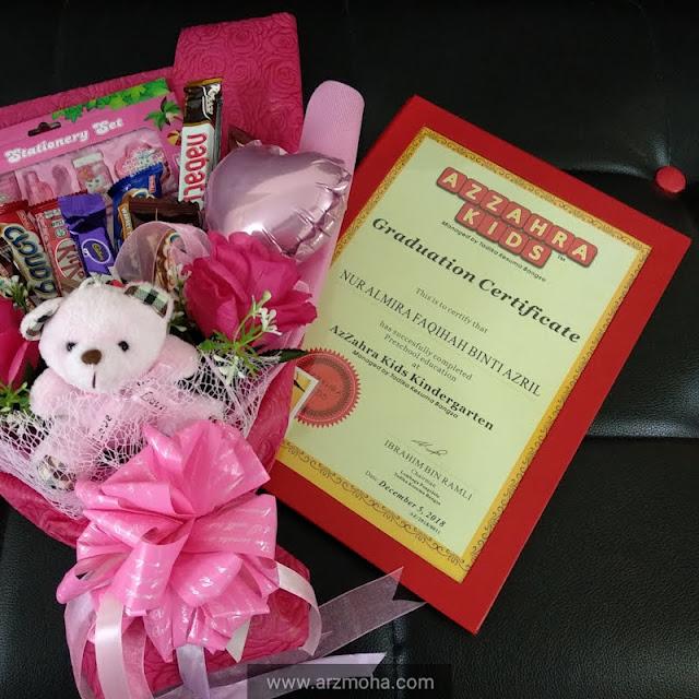 sijil pra sekolah cik puteri, jambangan bunga coklat hari graduasi, chocolate bouquet for graduation, kids,