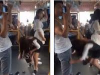 Memalukan, Wanita Terpeleset Tarik Celana Pria di Depannya