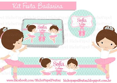 Kit Festa Bailarina rosa azul