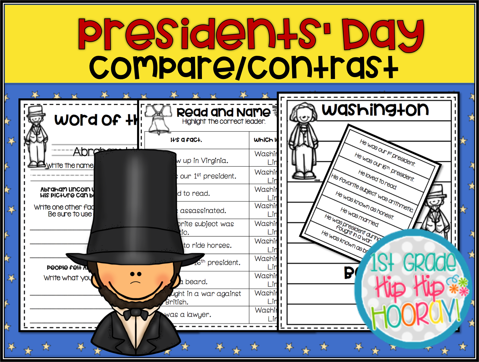 1st Grade Hip Hip Hooray Presidents Day