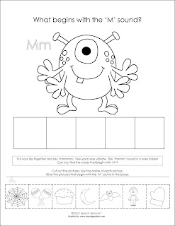 "Free! Monster fun for phonemic awareness of Initial sound 'M"" by Speech Sprouts www.speechsproutstherapy.com"