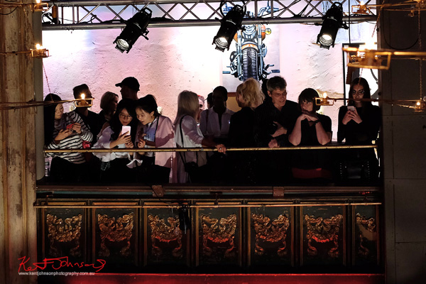 Fashion crowd on the balcony inside the venue. Street Fashion Sydney - New York Edition photographed by Kent Johnson