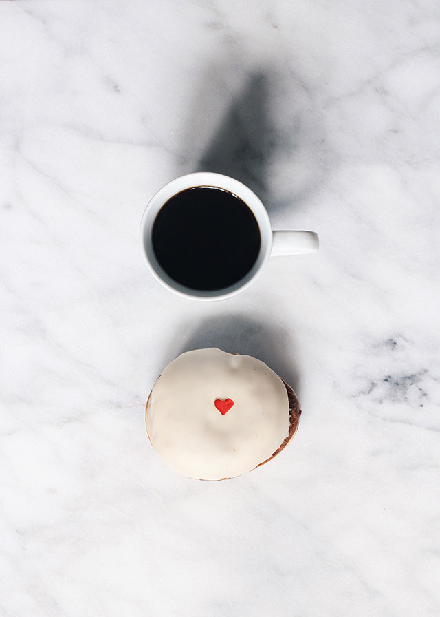 Afternoon snack: Glam Doll doughnut & coffee