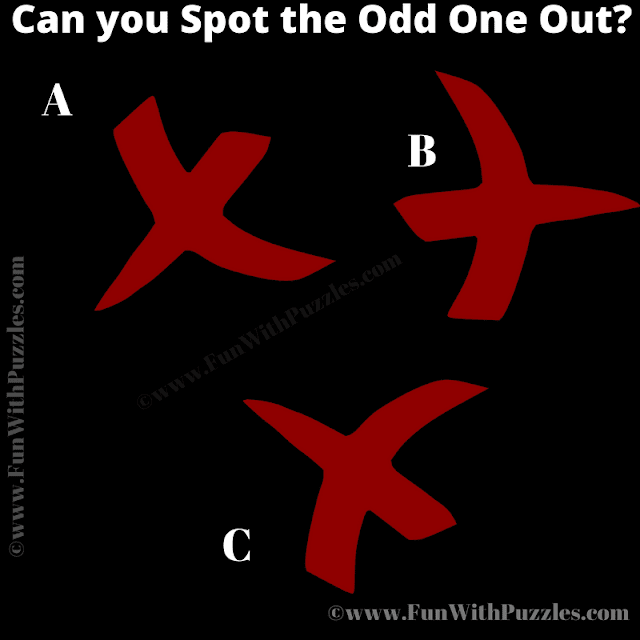 In this Picture Riddle, you have to find out which puzzle image is different from other two pictures.