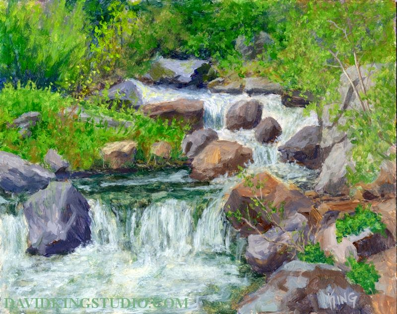 art painting acrylic water creek stream mountain nature