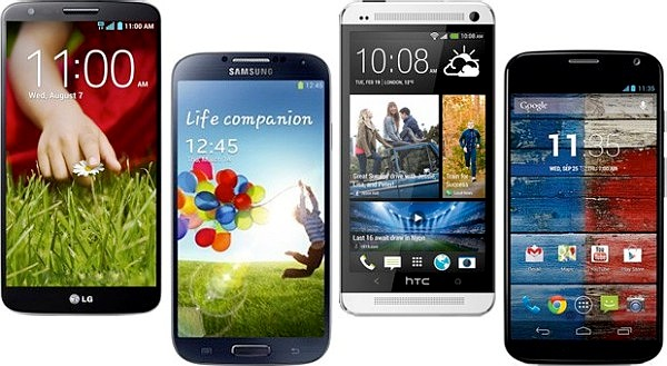 Samsung Galaxy S4, htc ONE, Motorola Moto X, LG Comparison