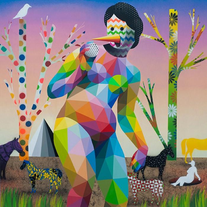 Разноцветные геометрические и узорные фигуры. Okuda San Miguel