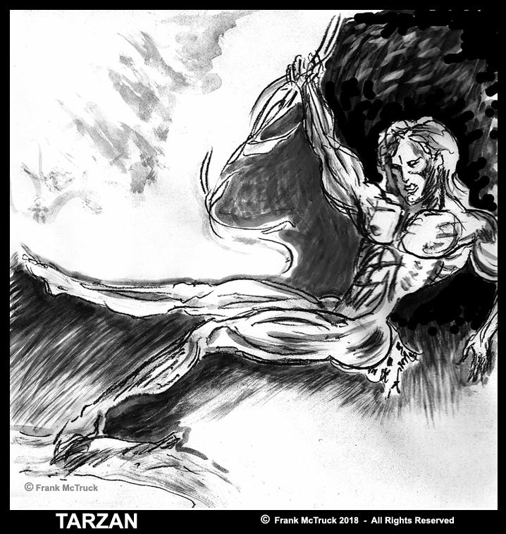 Frank McTruck ink wash 'Tarzan' character sketch