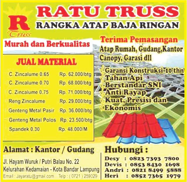 Toko Baja Ringan Bandar Lampung Kota Ratu Truss Ahlinya Berkualitas Pikiran