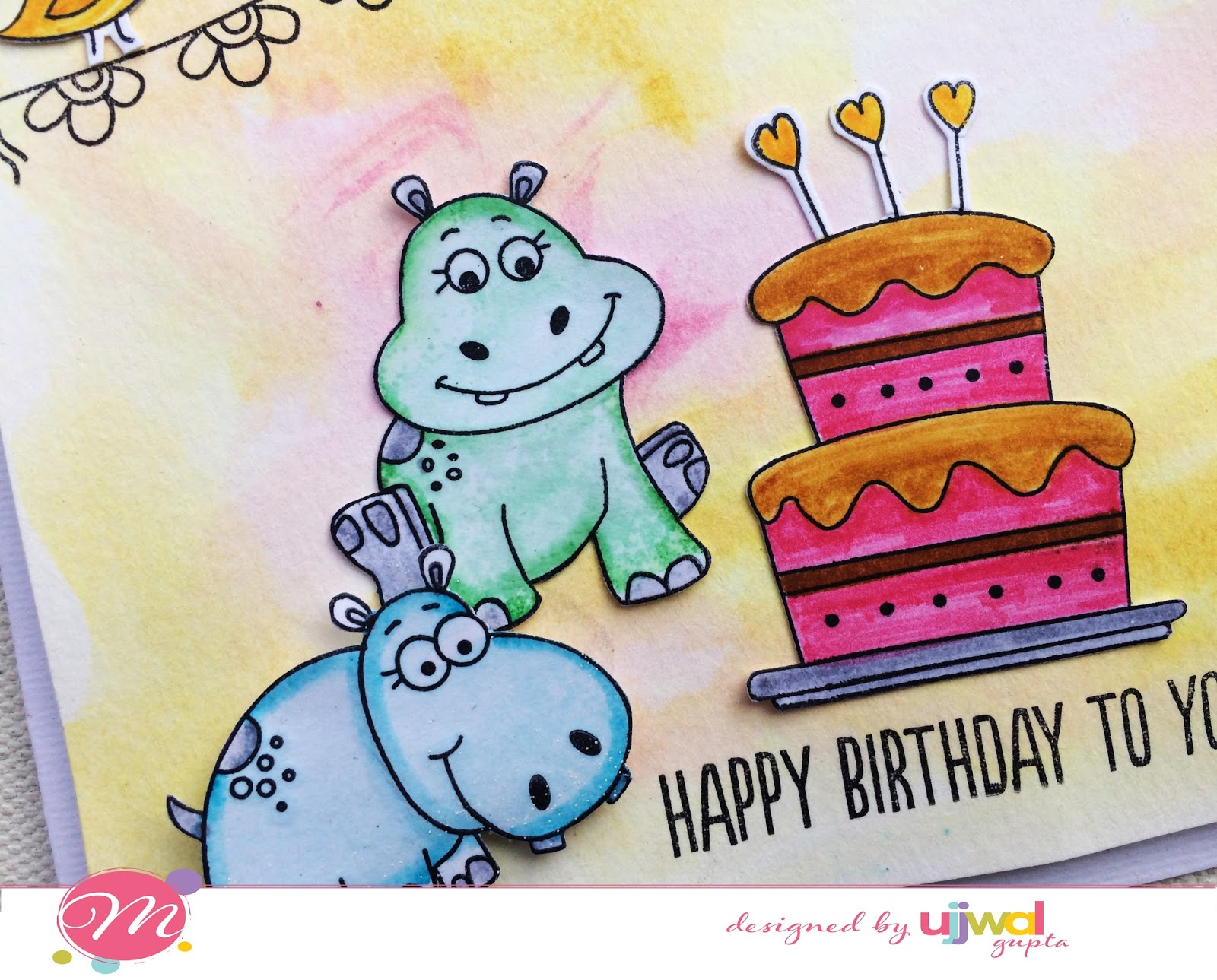 Mudra craft stamps hippo birthday card i hope you like this cute card bookmarktalkfo Image collections