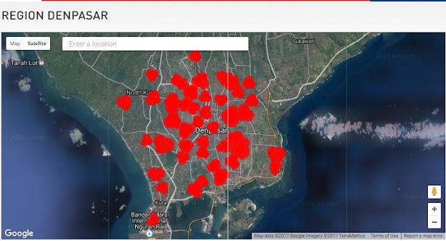 Peta Cakupan Jaringan 4G LTE Hinet Denpasar
