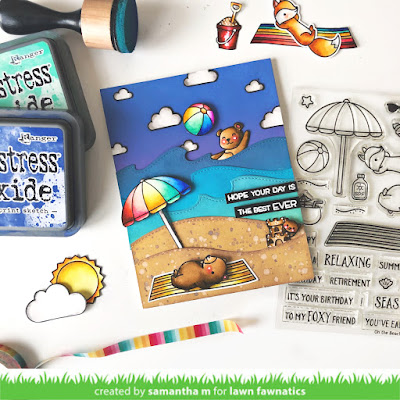Best Beach Day Ever Card by Samantha Mann for Lawn Fawnatics Challenge, Lawn Fawn, Beach, Cards, handmade cards, Distress Oxide Inks, Ink blending, heat embossing, #lawnfawn #lawnfawnatics #distressoxide #inkblending #cards #beachday