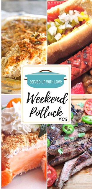Creamy Mushroom Chicken Bake, Slot Dogs, Orange Creamsicle Frozen Dessert, and Honky Tonk Tequila Lime Steak are all featured at Weekend Potluck 326 at Served Up With Love.