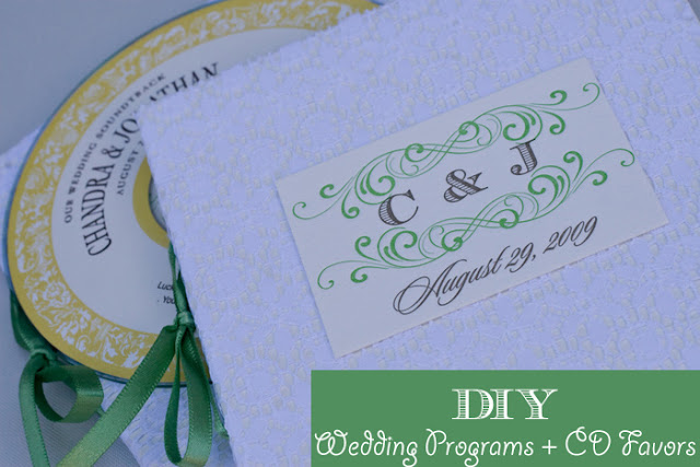 DIY wedding programs and CD favors combo tutorial by Oh Lovely Day