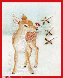 vintage christmas deer fabric block
