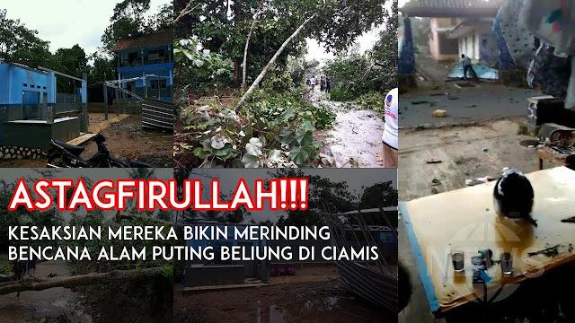 Akibat Angin Puting Beliung Rusak Rumah Warga di Ciamis