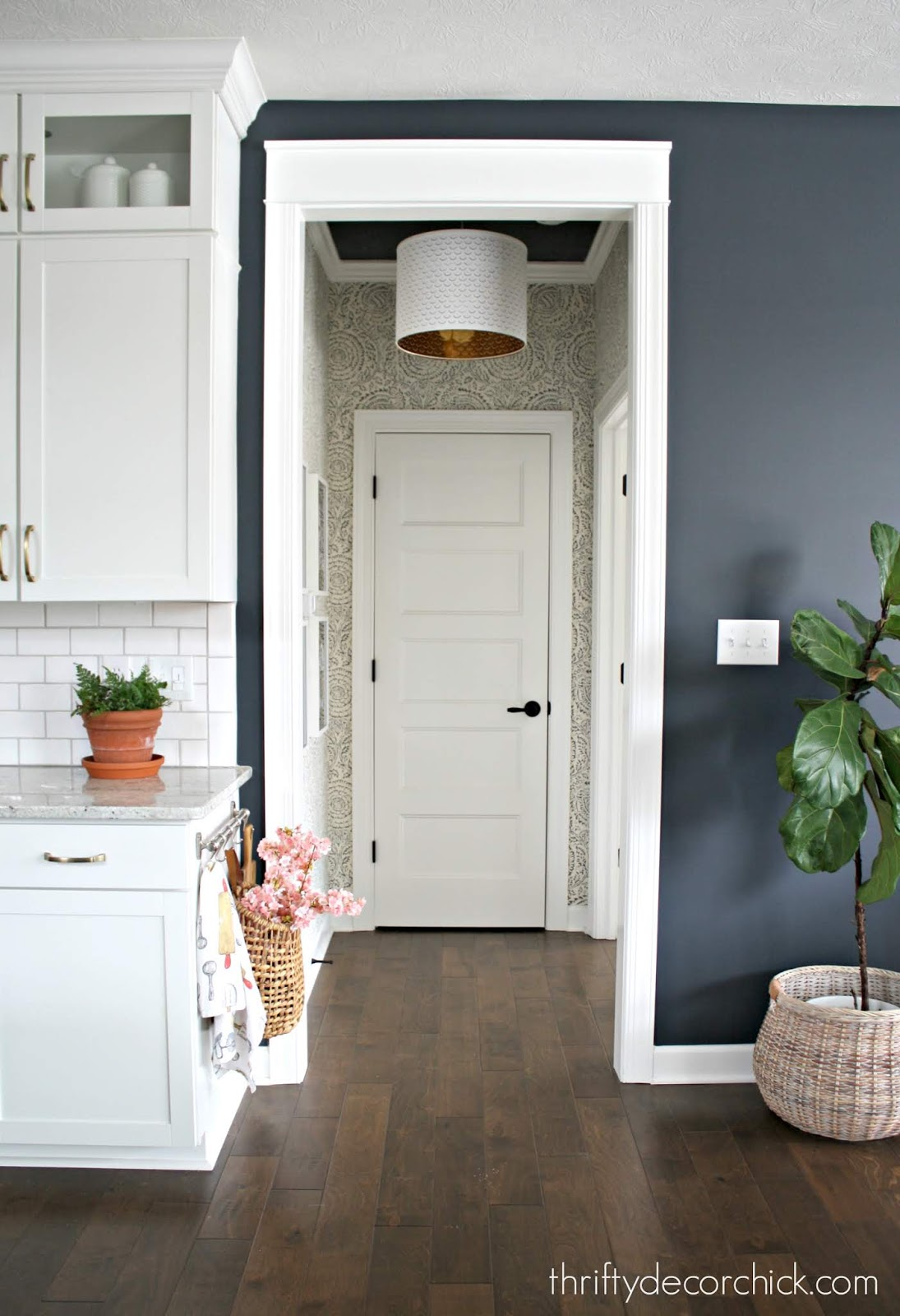 Small hallway updates with wallpaper and paint