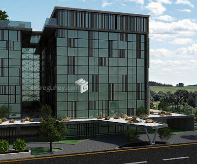 hilton hotel side facade