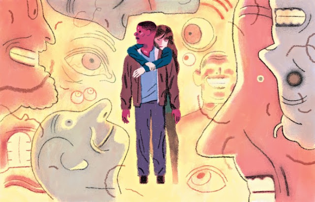 Daniel Kaluuya y Allison Williams en el primer largometraje dirigido por Jordan Peele. Ilustración de Richie Pope updetails.com