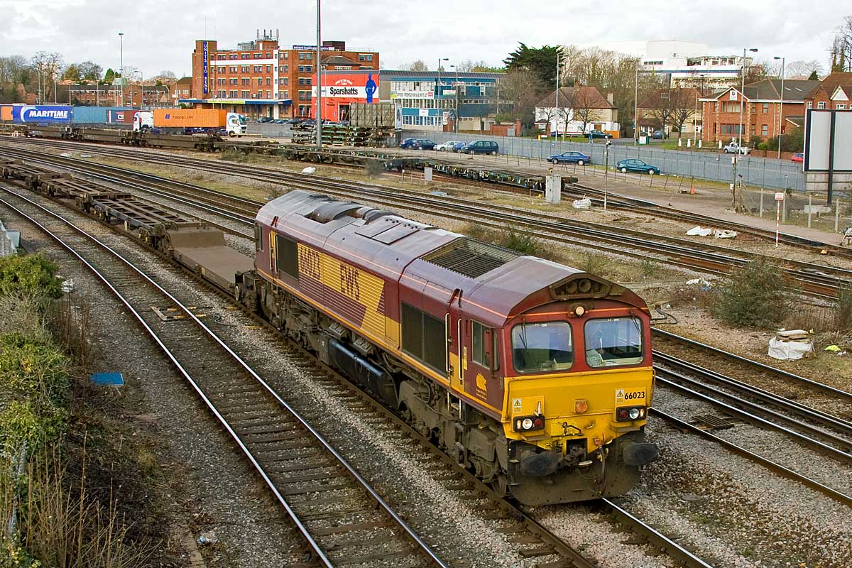 66023 departs past Millbrook with 4M15 Western Docks - Bescot, 18th  February. In the background on the right demolition has started on the  former BAT ...