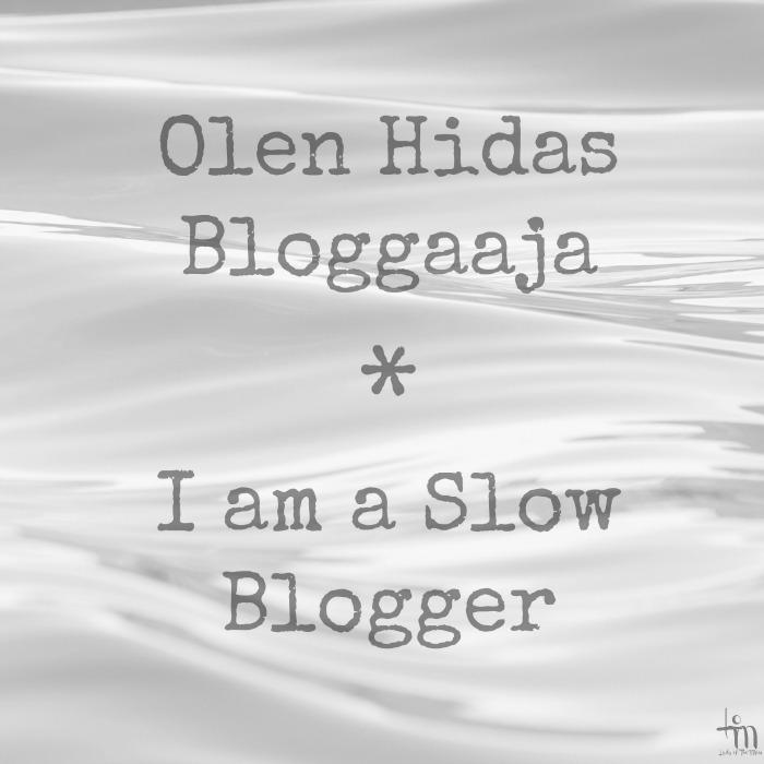 olen hidas bloggaaja - I am a slow blogger