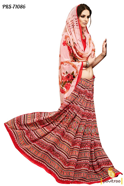 red color digital printed casual wear sarees online in low prices