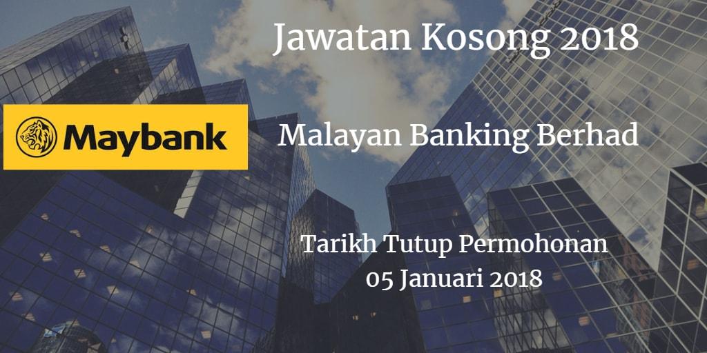 Jawatan Kosong Maybank 05 Januari 2018