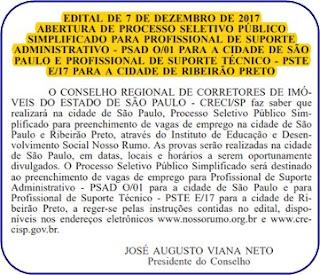 Edital concurso CRECI-SP 2018
