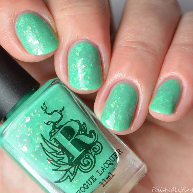 neon green flakie nail polish