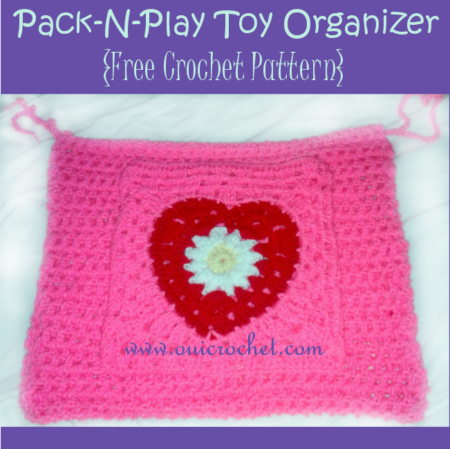 Crochet, Free Crochet Pattern, Crochet Toy Organizer, Pack-N-Play Toy Organizer, Crochet For Baby,