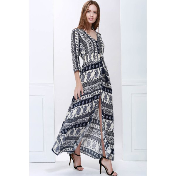 Plunging Neck 3/4 Sleeve Printed Maxi Dress