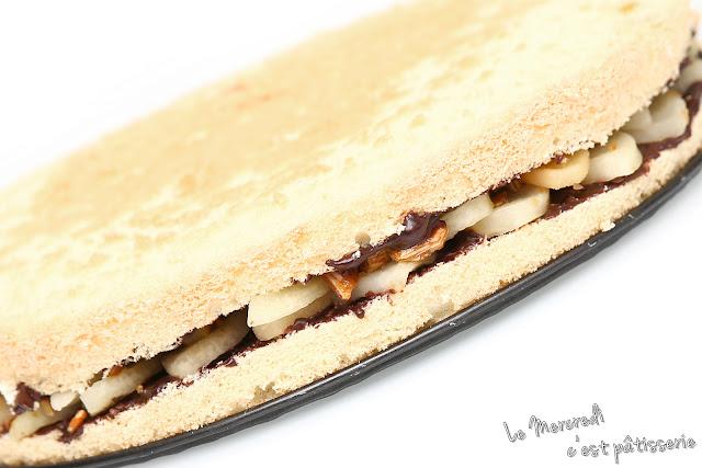 Gâteau de Savoie poires - chocolat