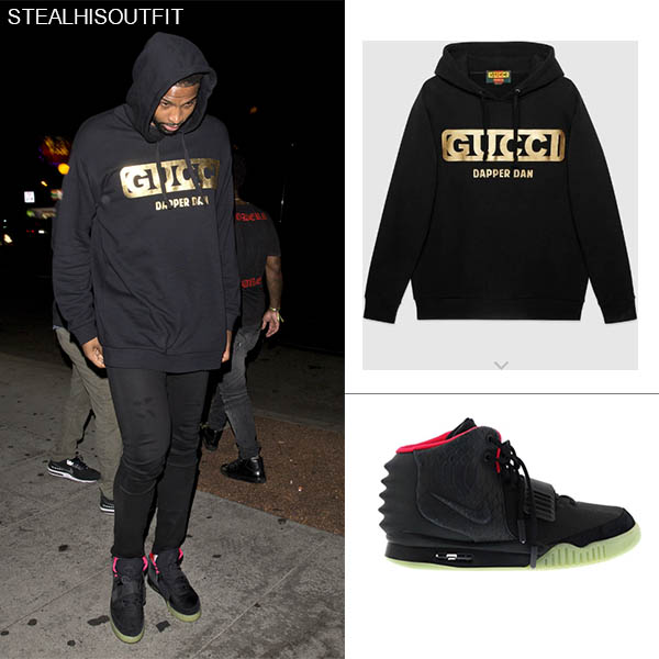 Tristan Thompson wears black Gucci hoodie mens streetfashion