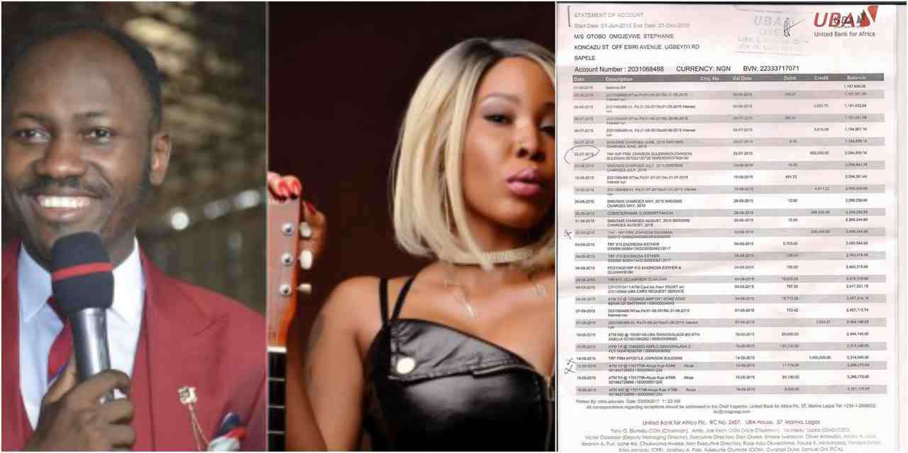 Photos: Stephanie Otobo's Bank Statements Confirming Apostle Suleman Sent Her Money
