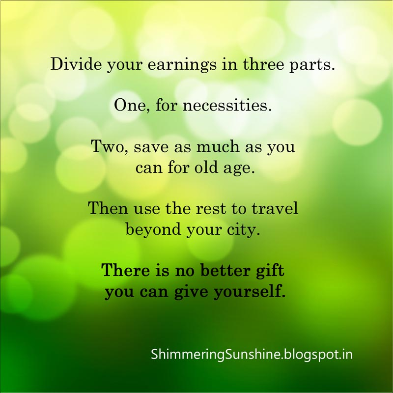 Divide your earnings into three parts