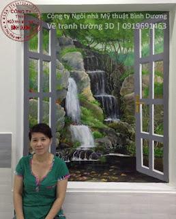 Vẽ tranh tường 3D ô cửa sổ tại bình dương tphcm