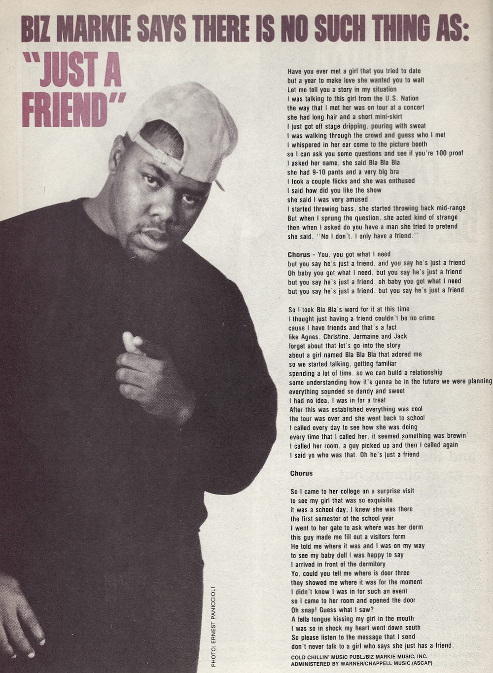 Biz Markie Just a Friend 1989 Lyrics
