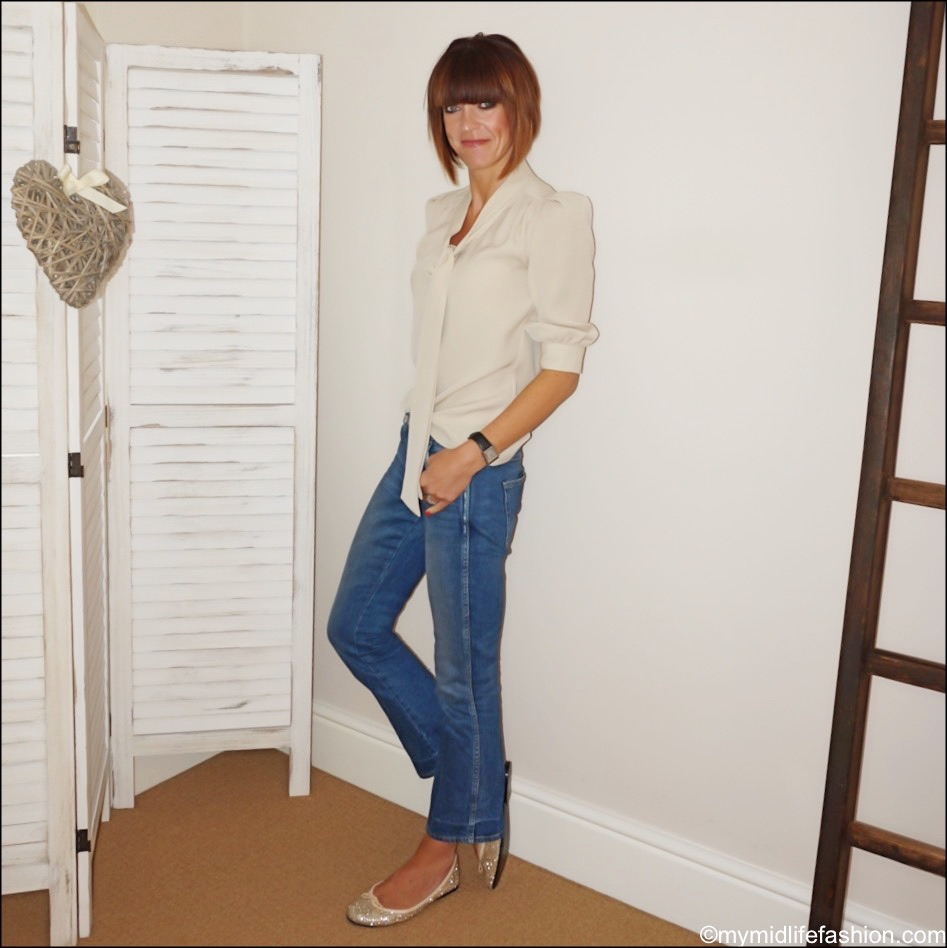 my midlife fashion, mulberry silk pussy bow blouse, j crew cropped kick flare jeans, French sole glitter ballet pumps