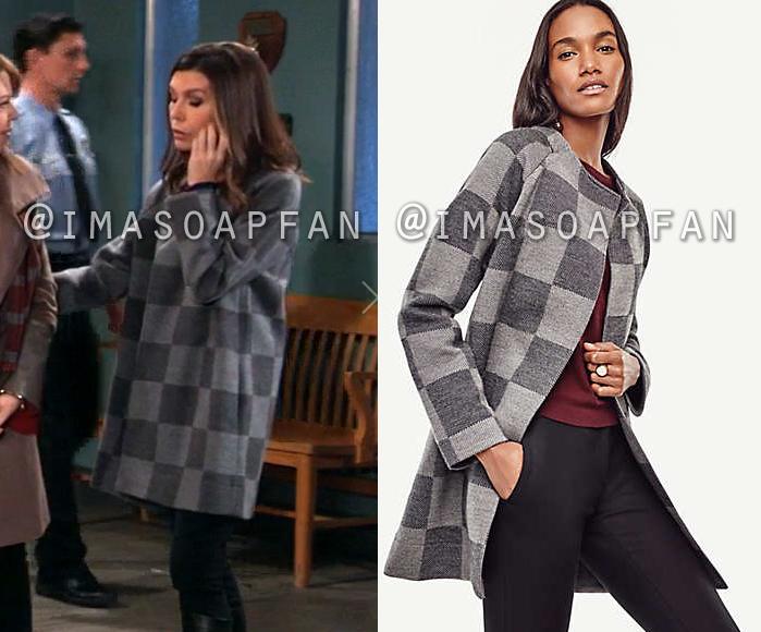 Anna Devane, Finola Hughes, Grey Check Sweater Coat, General Hospital, GH