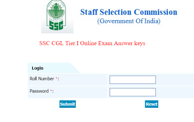 SSC CGL Answer key, SSC CGL Response sheet, SSC CGL 2016 Online Exam Answer key, SSC CGL Tier I Answer key