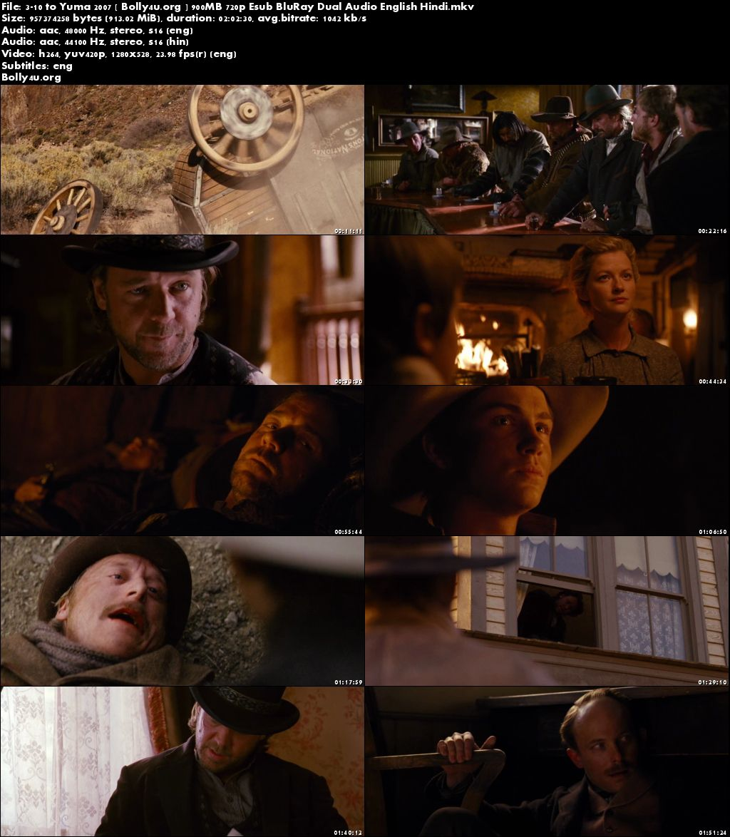 3:10 to Yuma 2007 BRRip 900MB Hindi Dubbed Dual Audio 720p Download